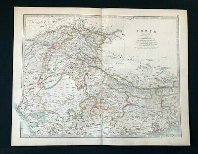 1893 Antique Victorian Atlas Map, NORTHERN INDIA, Handy Royal Atlas