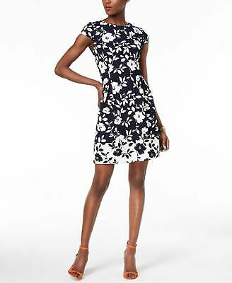 d18ff38a76c0 JESSICA HOWARD $89 Womens New 1174 Navy Floral Fit + Flare Dress 6 Petites  B+