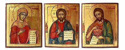 RARE! Antique 19th Russian Orthodox Hand Painted on Gold  3 Icons of Deesis Row