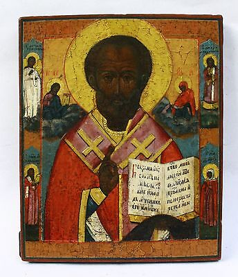 Antique 19th Cnt. Russian Hand Painted Wood Icon of St. Nicholas with Saints