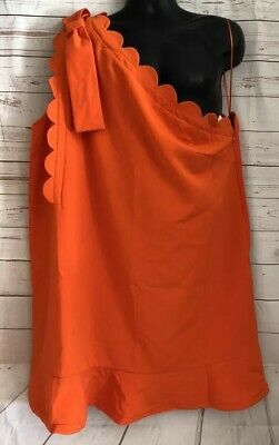 534ee611fd Victoria Beckham Target Orange One Shoulder Dress Plus Size 3X Ruffle Hem  NWT