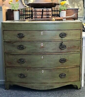 Dark Green Painted Antique Bow Front Regency Chest Of Drawers