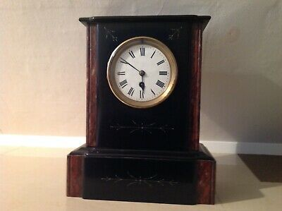 Very Nice Victorian Slate And Rouge Marble Mantle Clock 1900.