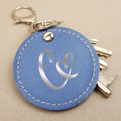Handmade Alphabet Keyring Initial Bag Charm Pendant Real Leather Fashion Gift