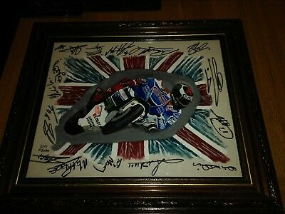 Jorge Lorenzo Oil Painting (Signed By Many Other Famous Names) Silverstone 2013.