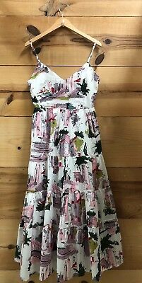 8aed29d32c80 Lazybones Cityscape White Patterned Tiered Tank Sleeveless Midi Dress Sz XS