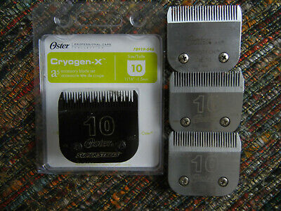 Four Used  Clipper Blades Size 10  Oster  Steel  For Sharpening