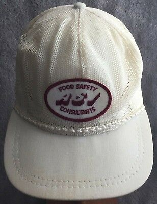 9f2b8b611a1eb ASI Food Safety Patch Trucking Hat Cap USA Trucker Mesh White Maroon  Snapback
