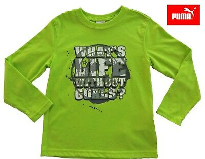 NWT PUMA Toddler Boys Lime Green/Grey/White Long Sleeve Top(Size 2T, 3T, 4T) NEW