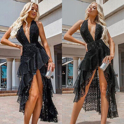 da64d94fbe Women's Sexy Plunge Halter Neck Dress Backless Evening Party Wedding Gown  Prom