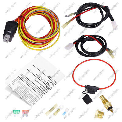 165 To 185 Dual Electric Fan Relay Wiring Harness 40AMP Thermostat Sensor Kit