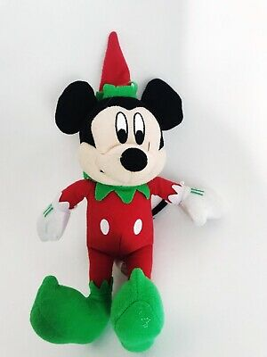 Vintage Mickey Mouse Plush Toy Doll Christmas Holiday Red & Green Mickey Elf