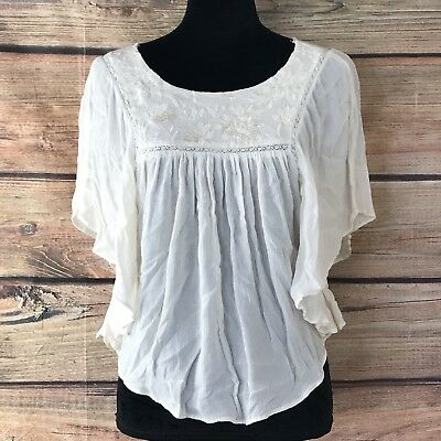 354bd1624071a Women's American Eagle Outfitters Embroidered Dolman Sleeve Ivory Top Sz XS