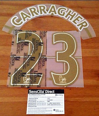 2007-13 Liverpool Home/Away Shirt CARRAGHER#23 Lextra KIDS/YOUTH Name Number Set