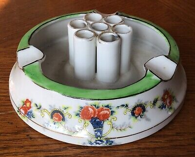 Vintage Round Ashtray Cigarette Holder Made In Japan