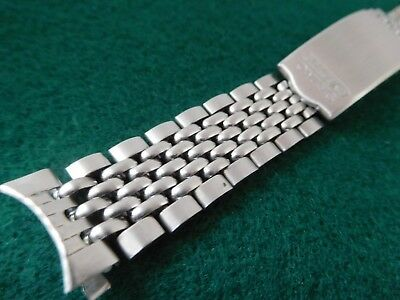 """Nice SEIKO-ACTUS  Silver-tone 'Beads of Rice' 6.35"""" Vintage Watch Band, fits 18m"""
