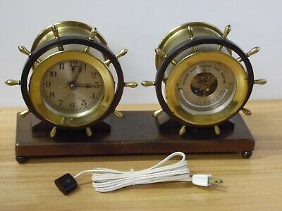 Antique Chelsea Ship Bell Clock Barometer & Fahrenheit Thermometer read