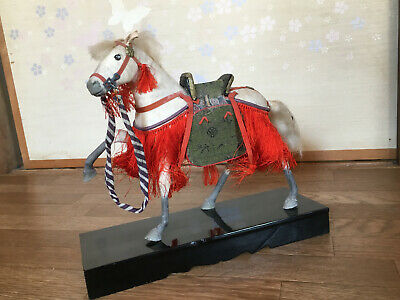 Antique DOLL Japan UMA Horse 25cm Japanese Saddle SAMURAI NINJA Battle Warrior