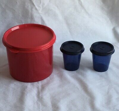 Tupperware Two Cup Red Canister and Two Black Tupper Minis Midgets NEW