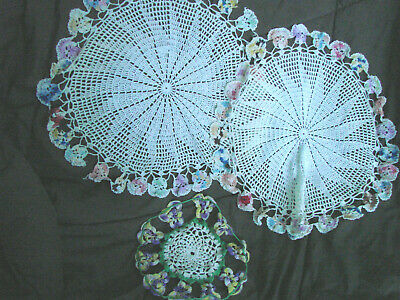Vintage Doily LOT 3  Doilies Pansy Flowers Crochet Round Assorted