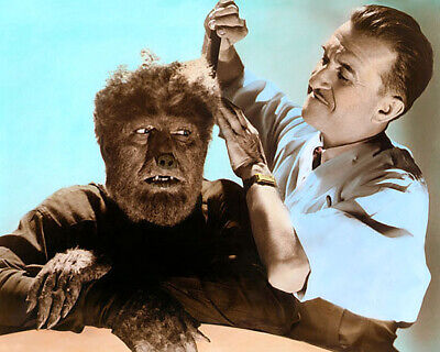 "LON CHANEY Jr  JACK PIERCE THE WOLF MAN 1941 8x10"" HAND COLOR TINTED PHOTOGRAPH"