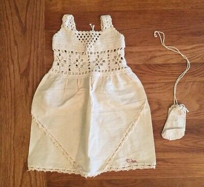 Vintage Baby Crocheted Cream Girls Dress From The 1970S