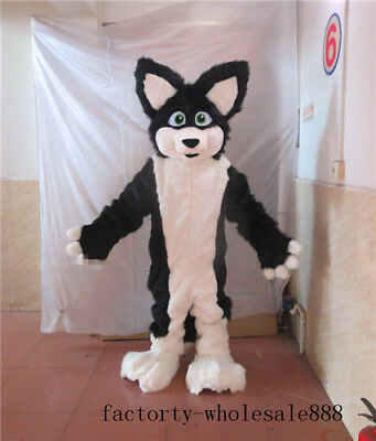 Long Fur Black Dog Mascot Costume Adult Halloween Fox Animal Cosplay Suit Unisex