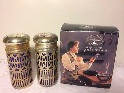 PAUL REVERE Silversmiths 1633 Silver-plated Cobalt Blue Salt and Pepper Shakers