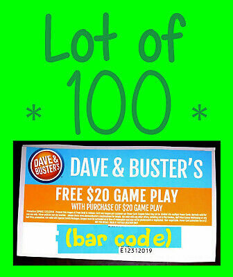⭐Lot of 100 ⭐ Dave & Buster's BUY $20 GET $20 GAME PLAY ᶜᵒᵘᵖᵒⁿˢ 🔶Video Arcade🔶