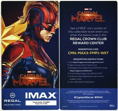 CAPTAIN MARVEL REGAL IMAX PACK OF 100 TICKETS w/ FREE POSTER Code BRIE LARSON