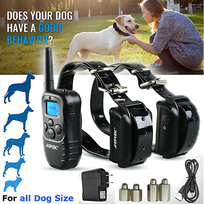 Rechargeable Electric Remote Dog Shock Training Collar 100LV Vibra For 1/ 2 Dogs