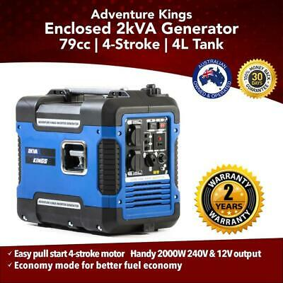 Kings 2kVA Portable Camping Generator   57.8dB   2 Year Warranty   Pure Sine Wav