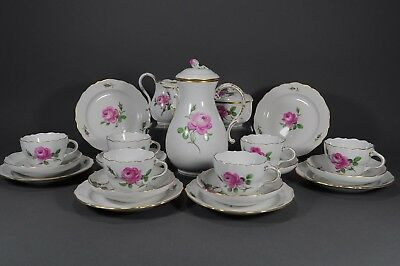 Meissen マイセン Kaffeeservice rote red Rose coffee service set plate pot cup 邁森