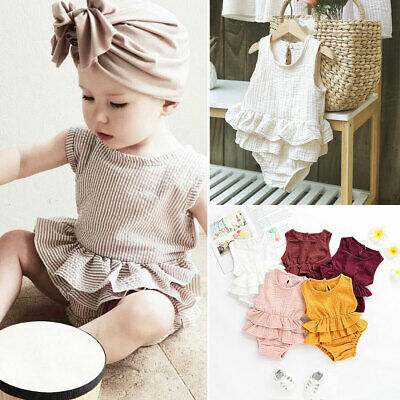 Newborn Baby Girls Kid Clothes Sleeveless Linen Romper Bodysuit Jumpsuit Outfits
