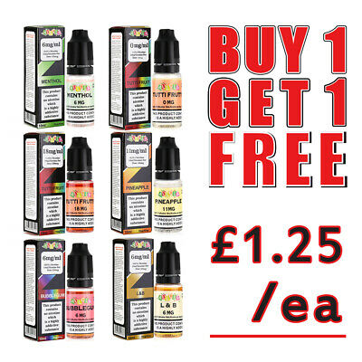 Shisha Refill E-Liquid Vape Juice Oil 10ml in 0mg,3mg,6mg,11mg and 18mg Nic