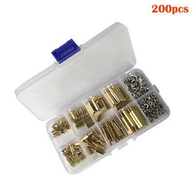 Brass Male Female 200Pcs M3/M2.5 Standoff Spacer PCB Hex Screws Bolts Nuts Set