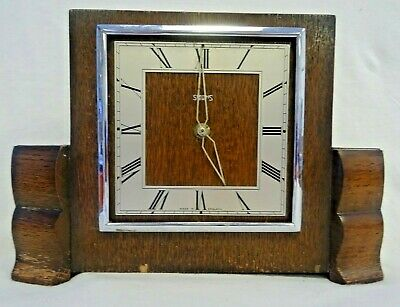 Smiths & Day 1950s square wooden wind-up mantle clock