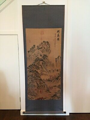"""Antique Chinese  Wall Hanging Scroll, 75"""" H X 28"""" W"""