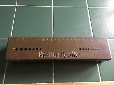 Vintage Mottled Brown Bakelite BEX Knitting Needle Gauge, Box