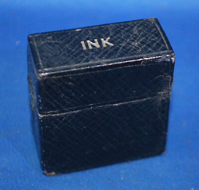 A quite rare antique leather covered Victorian travelling inkwell