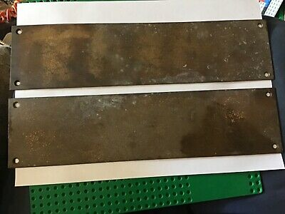 Late Vintage Solid Brass Door Handle Finger Push Plates X 2 old reclaimed