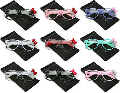 Hello Kitty Bow Tie Fashion Womens Girls Clear Lens Non Prescription Eye glasses