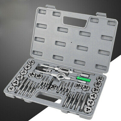 40pcs Metric Wrench Tap And Die Set Cuts M3-M12 Bolts Engineers Kit With HardBox