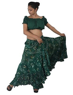 Green Belly Dance Cotton 10 Yard 4 Tier Skirt Gypsy 30C
