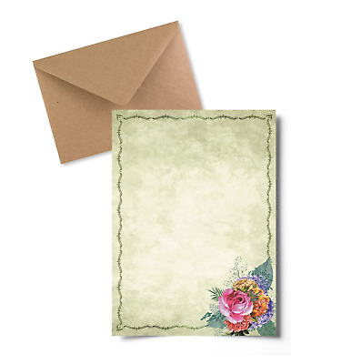 Vintage Flowers Letter Writing Paper and Envelopes Stationery Set Penpal Gift