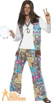 Adult Mens 60s Hippie Costume Groovy Retro Floral Hippy Fancy Dress Outfit