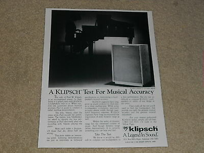 1 page Articles 1967 Model H 1st One Klipsch Heresy Speaker Ad Info