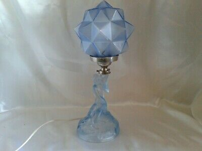 Rare Exquisite Art Deco Walther Sohne Blue Satin Glass Rotterdam Lamp Rewired