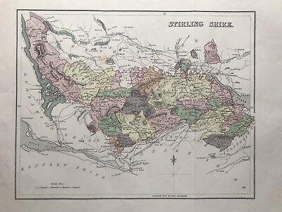 Original County Map STERLING SHIRE by Lizars 1885, Scotland Parishes, color