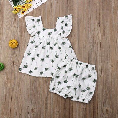 Summer Clothes New Kids Baby Girls Floral Tops T-Shirts Shorts Pants Outfits Set